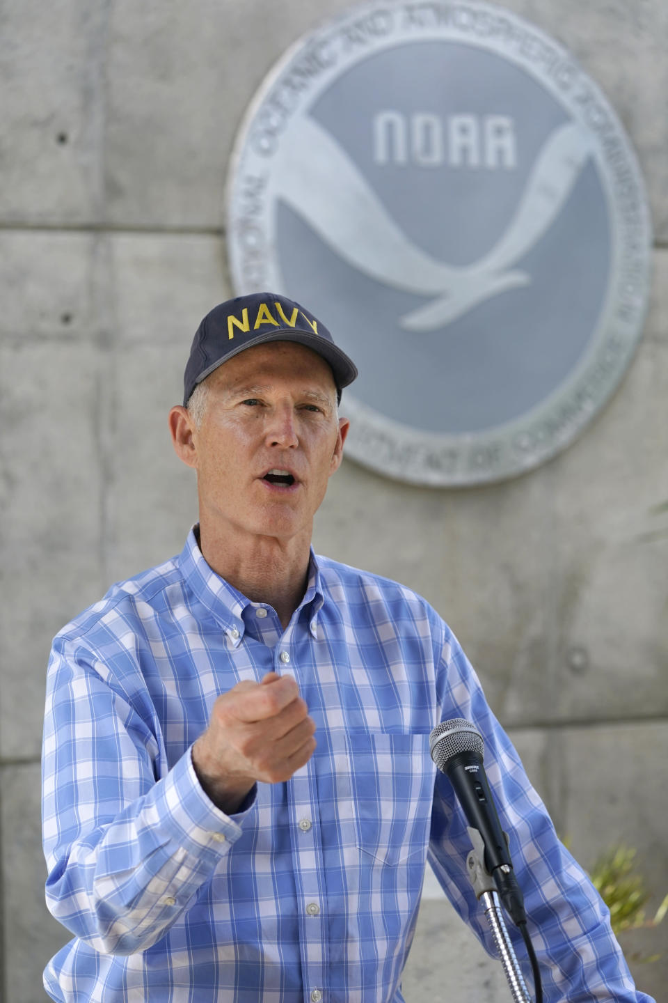 Senator Rick Scott, R-Fla., speaks during a news conference after having toured the National Hurricane Center, Tuesday, June 1, 2021, in Miami. Tuesday marks the start of the 2021 Atlantic hurricane season which runs to Nov. 30. (AP Photo/Wilfredo Lee)