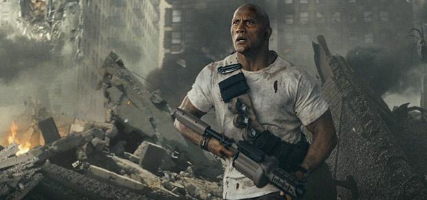 Dwayne Johnson in a scene in Rampage
