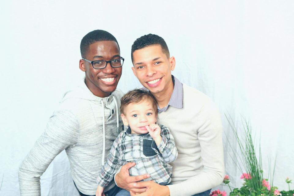 JaRel, left, and Aaron Clay with their son Noah. (Photo courtesy of Aaron Clay)