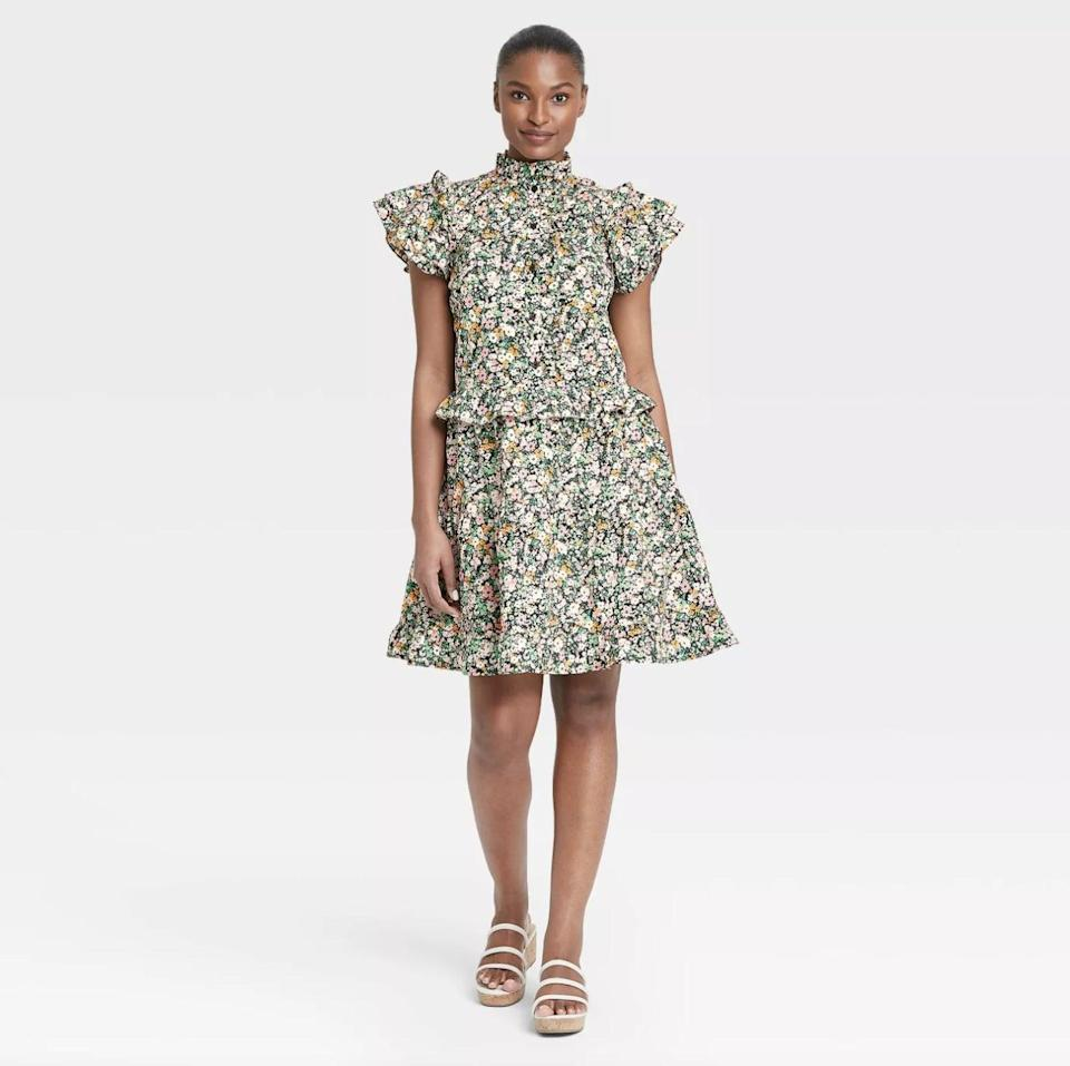 <p>This <span>Who What Wear Ruffle Short Sleeve Dress</span> ($37) features a mood-boosting floral pattern and modern silhouette that will be sure to spark joy.</p>