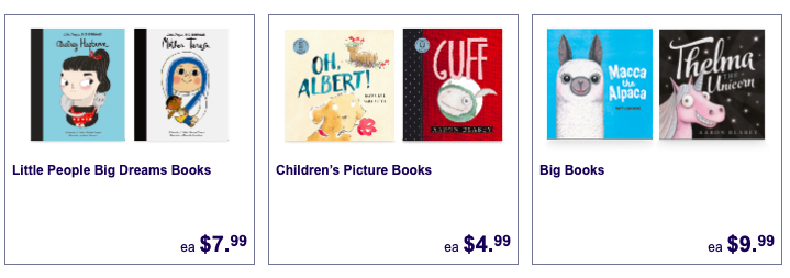 Children's books on sale as Special Buys at Aldi.