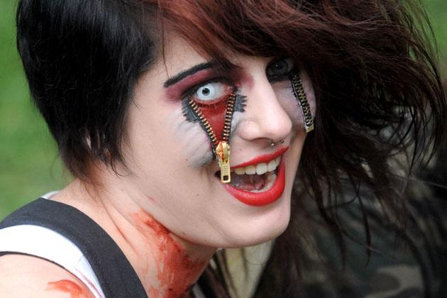 A girl dressed as a zombie participates in a zombie walk in Prague on May 5, 2012.    AFP PHOTO/MICHAL CIZEK