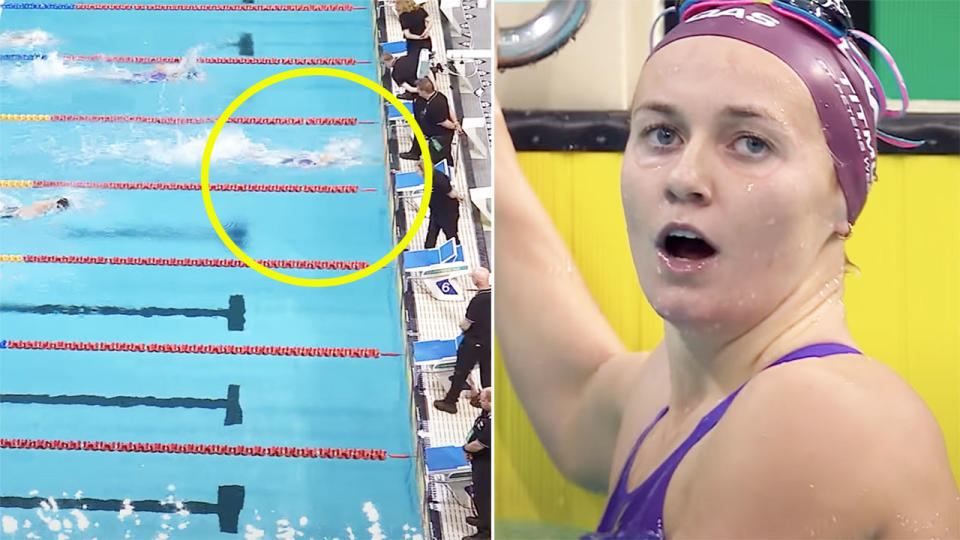 Ariarne Titmus, pictured here after narrowly missing out on breaking the 200m freestyle world record.
