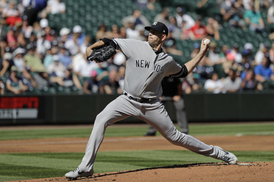 New York Yankees starting pitcher James Paxton throws against the Seattle Mariners during the first inning of a baseball game, Wednesday, Aug. 28, 2019, in Seattle. (AP Photo/Ted S. Warren)