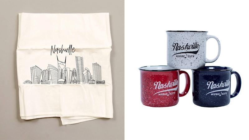 The Tennessean / Reviewed 2019 gift guide: Nashville Music City Campfire Mug and Nashville Skyline Hand Towel