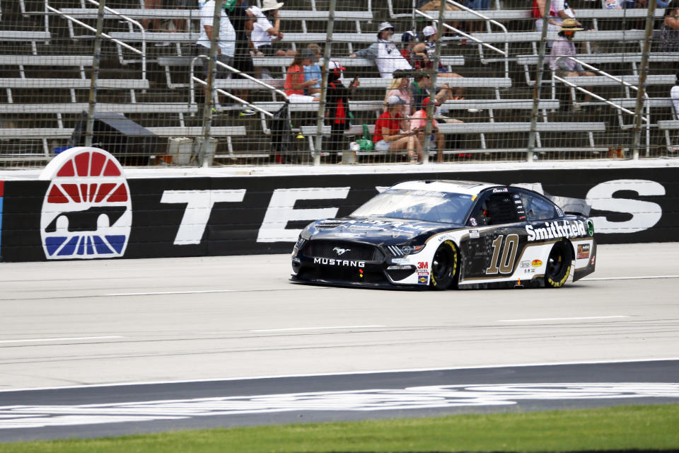 Aric Almirola heads down the front stretch during a NASCAR Cup Series auto race at Texas Motor Speedway in Fort Worth, Texas, on July 19, 2020. (AP Photo/Ray Carlin)