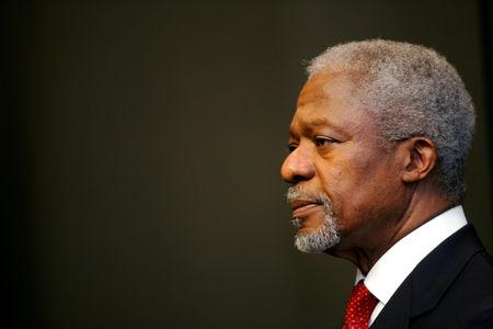FILE PHOTO -  UN Secretary-General Annan attends a news conference in Cape Town