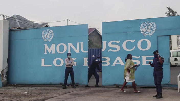 In this images made from video, the gate of the United Nations base where the Italian ambassador to Congo was taken after the convoy in which he was traveling was attacked, in Goma, North Kivu province, Congo Monday, Feb. 22, 2021. The Italian ambassador to Congo Luca Attanasio, an Italian carabineri police officer and their Congolese driver were killed Monday in an attack on a U.N. convoy in an area that is home to myriad rebel groups, the Foreign Ministry and local people said. (AP Photo/Justin Kabumba)