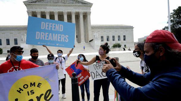 PHOTO: Advocates for immigrants with Deferred Action for Childhood Arrivals, or DACA, rally in front of the U.S. Supreme Court, June 15, 2020, in Washington, D.C. (Chip Somodevilla/Getty Images)