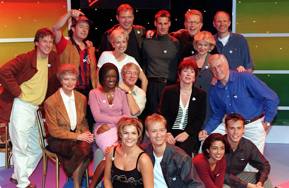 Past and present Blue Peter presenters gathered together today (Friday), to mark the programme's 40th anniversary. (l/r top) Peter Duncan, Christopher Wenner, Sarah Greene, John Leslie, Tim Vincent, Mark Curry, Tina Heath and Simon Groom. (l/r middle) Leila Williams, Diane Louise Jordan, John Noakes, Valerie Singleton and Peter Purves. (l/r bottom) Katy Hill, Stuart Miles, Konnie Huq and Richard Bacon. Photo by Peter Jordan. (Photo by PA Images via Getty Images)
