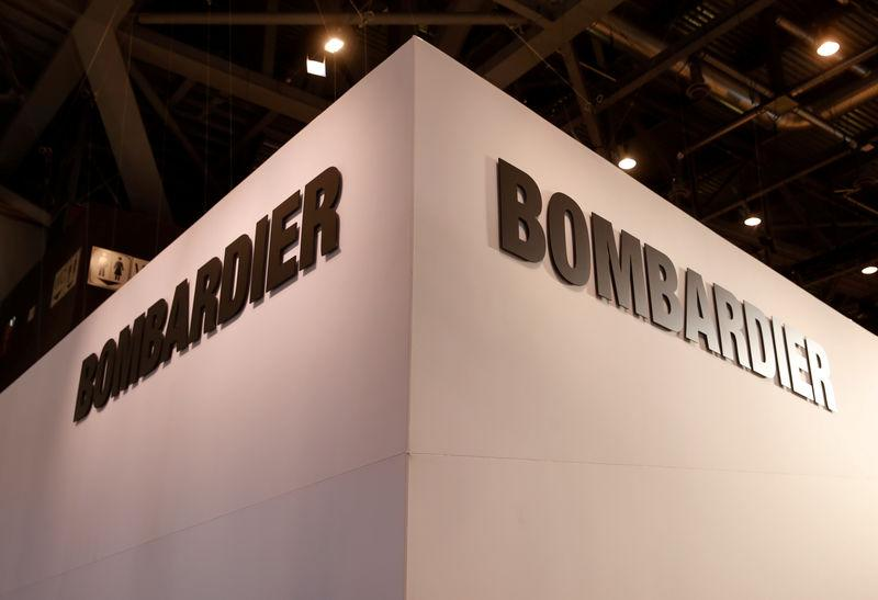 FILE PHOTO: FILE PHOTO: A Bombardier logo is pictured during EBACE in Geneva