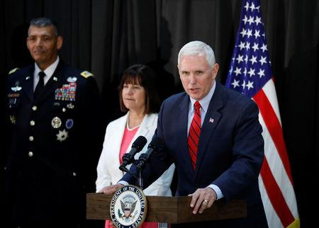 U.S. Vice President Mike Pence speaks during an Easter fellowship dinner at a military base in Seoul