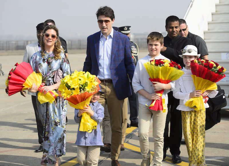 <p>Prime Minister Justin Trudeau, wife Sophie Gregoire Trudeau, and children, Xavier, Ella-Grace, and Hadrien, arrive in Agra, India, on Feb. 18, 2018. Photo from The Canadian Press. </p>