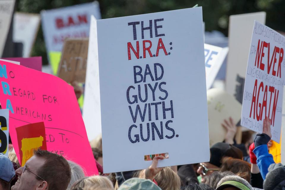 <p>Hundreds of thousands of Americans are taking to the streets in cities across the United States on Saturday in the biggest protest for gun control in a generation. (Photo: Alex Edelman/AFP/Getty Images) </p>