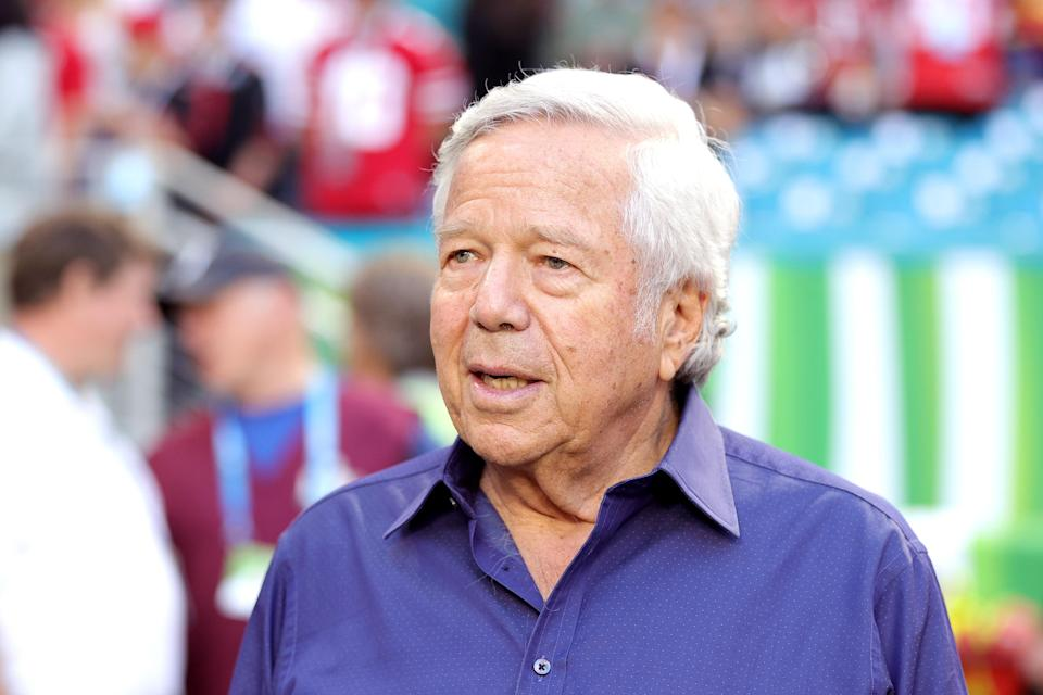 Patriots owner Robert Kraft won't face trial on charges that he paid for sex at a Florida massage parlor in 2019. (Maddie Meyer/Getty Images)