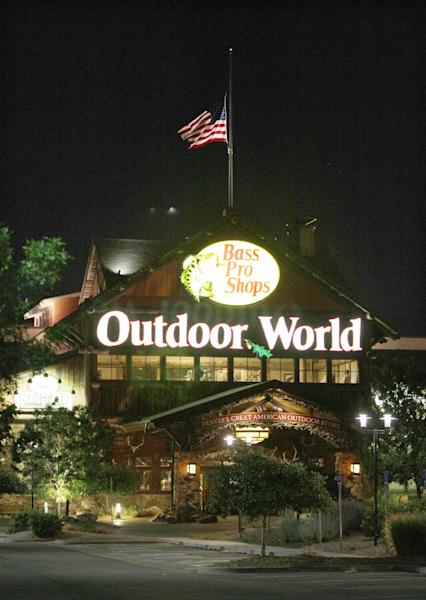The Bass Pro Shops store in Denver, Colo. is shown, Saturday, July 21, 2012. The is store is where the gunman in Friday's movie theater shooting in Aurora, Colo., allegedly purchased two of his weapons. (AP Photo/Ted S. Warren)