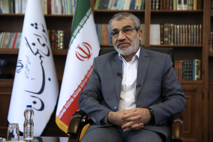 Spokesman of the Iranian Guardian Council Abbas Ali Kadkhodaei speaks in an interview with The Associated Press at his office in Tehran, Iran, Tuesday, May 18, 2021. (AP Photo/Vahid Salemi)