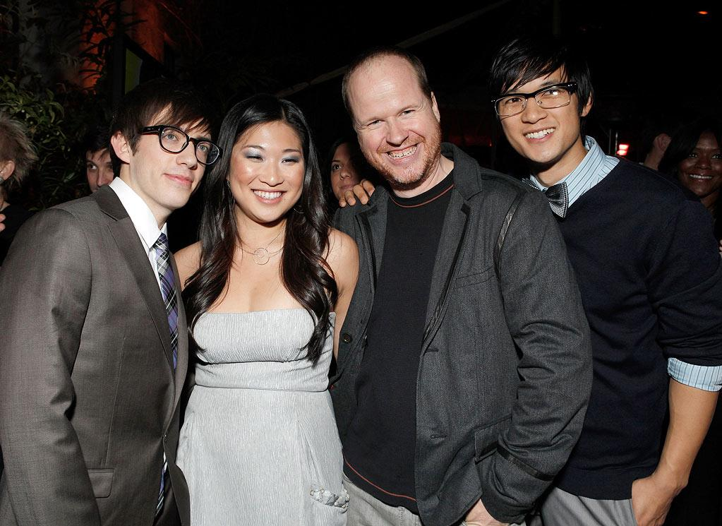 "<a href=""/kevin-mchale/contributor/705646"">Kevin McHale</a> (""Artie Abrams""), <a href=""/jenna-ushkowitz/contributor/2427763"">Jenna Ushkowitz</a> (""Tina Cohen-Chang""),  <a href=""/joss-whedon/contributor/29042"">Joss Whedon</a>, and <a href=""/harry-shum/contributor/1156214"">Harry Shum Jr.</a> (""Mike Chang"") at Fox's <a href=""/glee/show/44113"">""Glee""</a> Spring Premiere Soiree at Chateau Marmont on April 12, 2010 in Los Angeles, California."