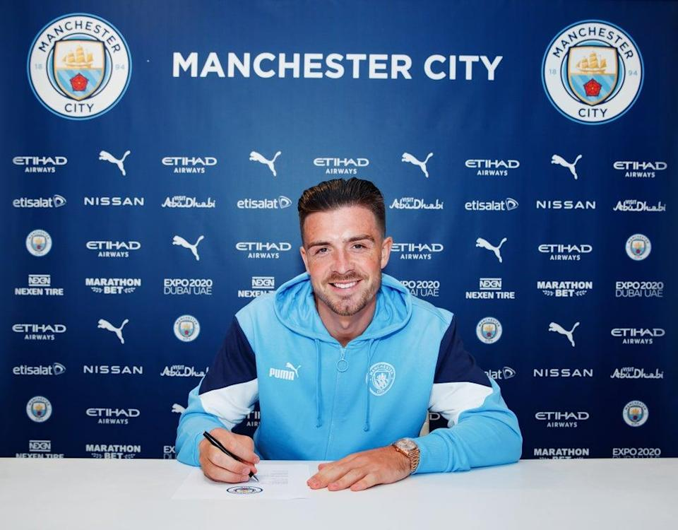 Manchester City unveil new signing Jack Grealish at Manchester City Football Academy (Getty)