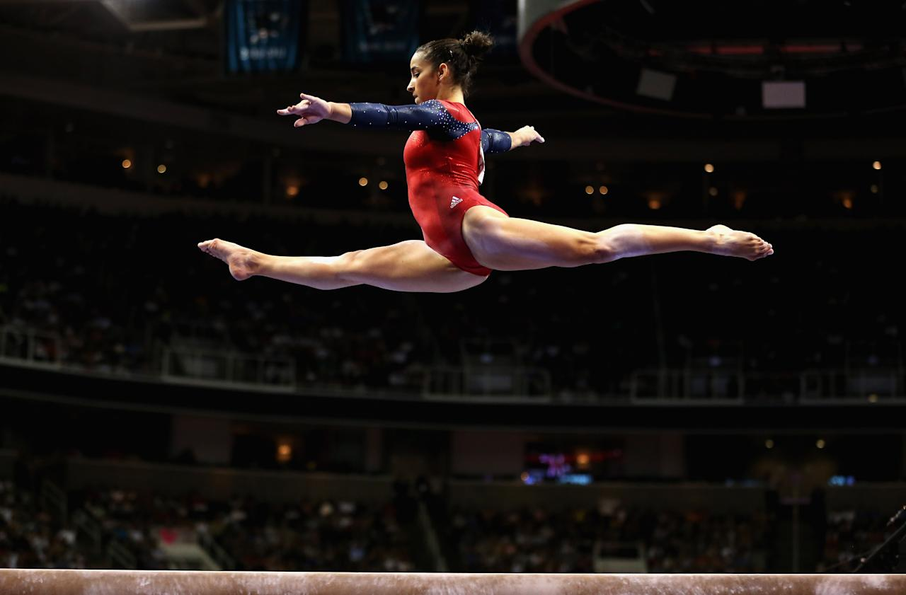SAN JOSE, CA - JULY 01:  Alexandra Raisman competes on the balance beam during day 4 of the 2012 U.S. Olympic Gymnastics Team Trials at HP Pavilion on July 1, 2012 in San Jose, California.  (Photo by Ezra Shaw/Getty Images)