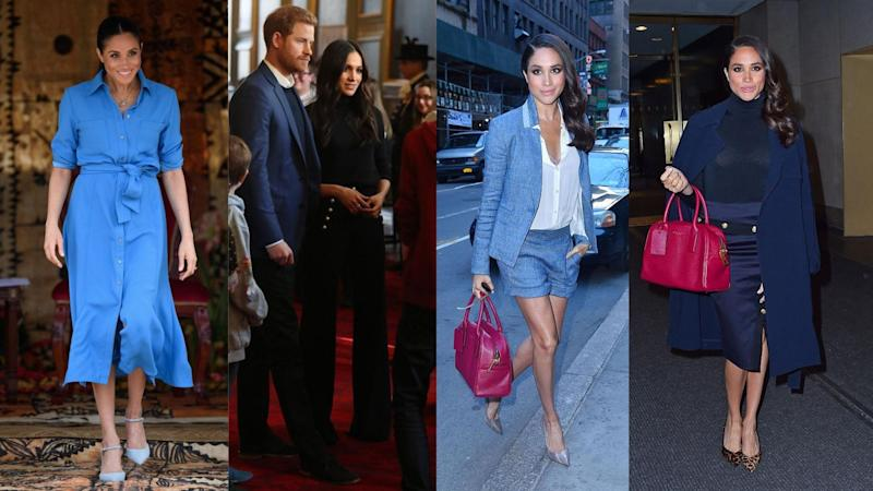 The Duchess of Sussex in Veronica Beard (Images via Getty Images).