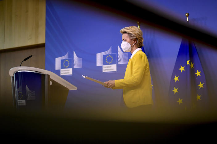 European Commission President Ursula von der Leyen prepares to deliver a statement after a meeting of the college of commissioners at EU headquarters in Brussels, Wednesday, April 14, 2021. EU Commission chief Ursula von der Leyen announced plans Wednesday for a major contract extension for COVID-19 vaccines with Pfizer stretching to 2023. (John Thys, Pool via AP)