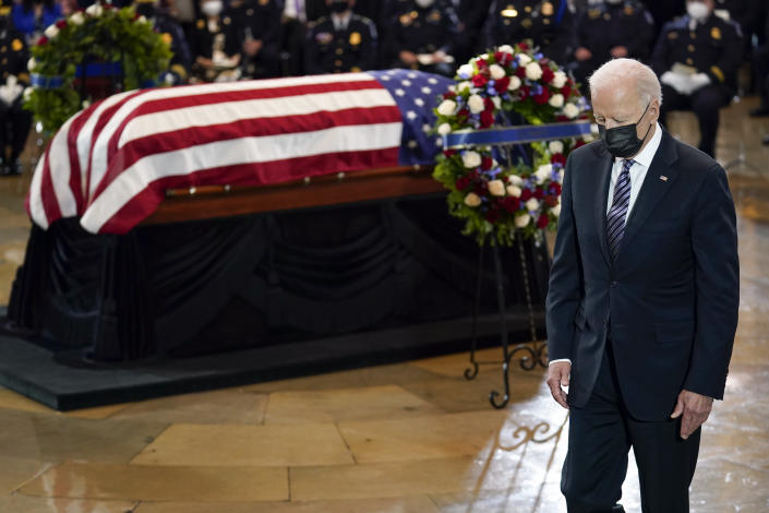 "President Joe Biden walks from the podium after speaking during a ceremony to honor slain U.S. Capitol Police officer William ""Billy"" Evans as he lies in honor at the Capitol in Washington, Tuesday, April 13, 2021. (AP Photo/J. Scott Applewhite, Pool)"