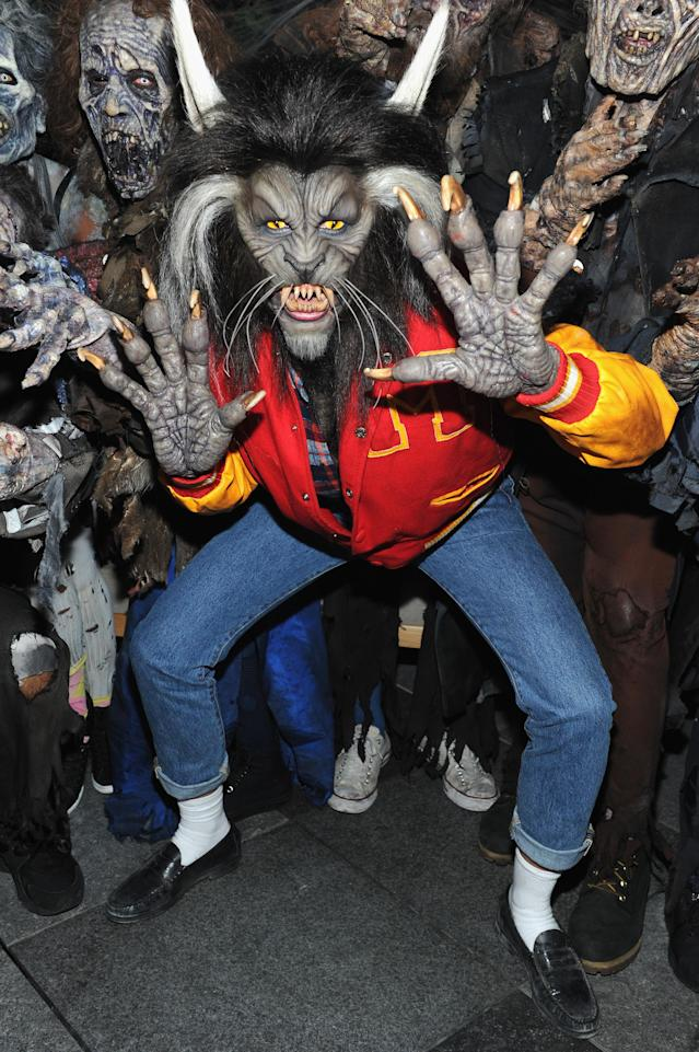 <p>Yes, that's Heidi Klum in there! Halloween's unofficial spokes-celebrity went all out, per usual, at her 18th annual holiday bash. The supermodel and <i>America's Got Talent</i> host was unrecognizable as Scott Howard from the 1985 classic flick <i>Teen Wolf</i>. We think Michael J. Fox will approve of Klum's take on his character. (Photo: Getty Images) </p>