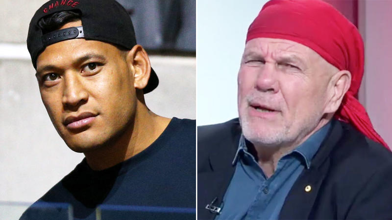 Peter FitzSimons couldn't resist a dig at Israel Folau after the Wallabies' win. Image: Getty/Channel Nine