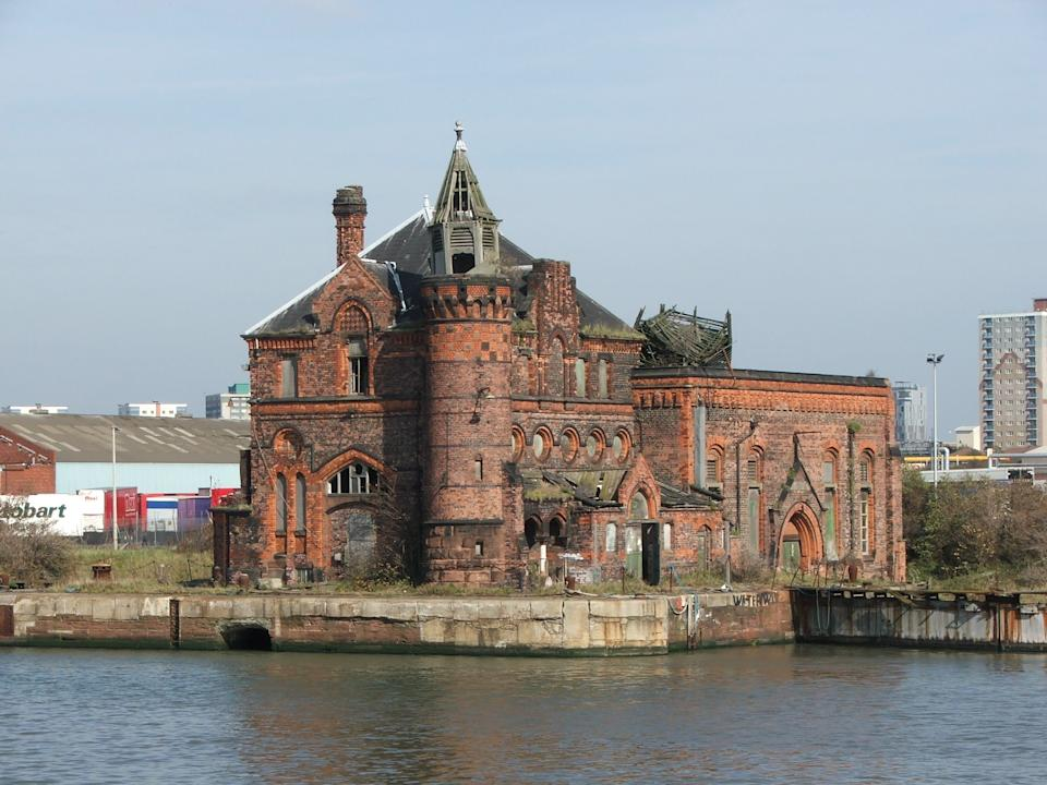 Pumphouse, Langton Dock, Bootle, Merseyside: The red-brick pumphouse which originally contained a steam engine to operate the locks has since become derelict after shipping in the area declined. (Barry Walker/The Victorian Society)