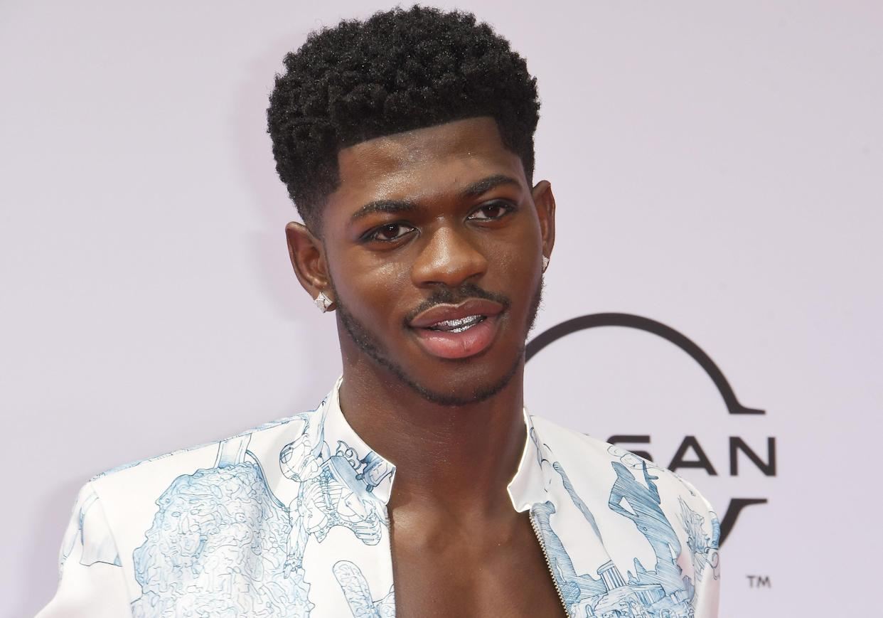 Lil Nas X arrives at the BET Awards 2021 held at the Microsoft Theater in Los Angeles, CA on Sunday, ?June 27, 2021. (Photo By Sthanlee B. Mirador/Sipa USA)