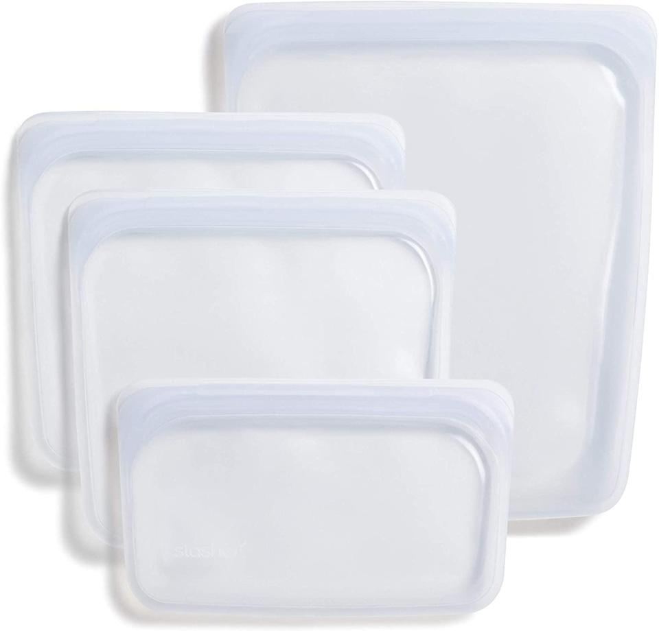 <p>These eco-friendly <span>Stasher Platinum Silicone Food Grade Reusable Storage Bags</span> ($44) are leakproof, dishwasher-safe, and non-toxic. </p>