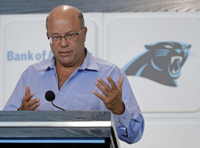 New Carolina Panthers owner David Tepper answers a question during a news conference at Bank of America Stadium in Charlotte, N.C., Tuesday, July 10, 2018. Tepper finalized his purchase of the team on Monday. (AP Photo/Chuck Burton)
