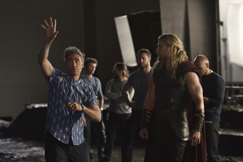 Taika Waititi directs Chris Hemsworth in Marvel's upcoming 'Thor: Ragnarok' (credit: Jasin Boland/Marvel Studios)