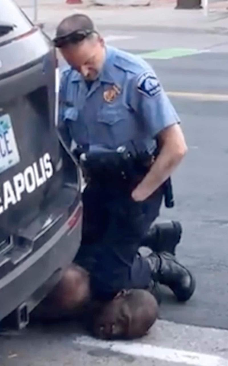 In this frame from video provided by Darnella Frazier, Minneapolis officer Derek Chauvin kneels on the neck of George Floyd, despite him pleading that he could not breathe - Darnella Frazier