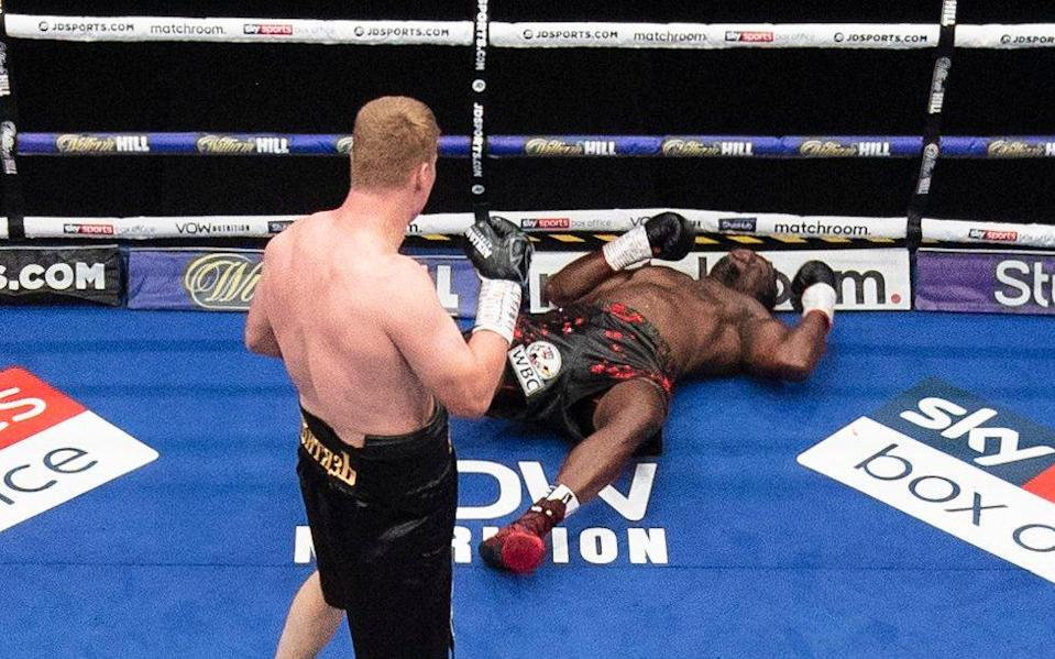 Dillian Whyte is knocked out in the 5th round of the fight againstAlexander Povetkin - MARK ROBINSON