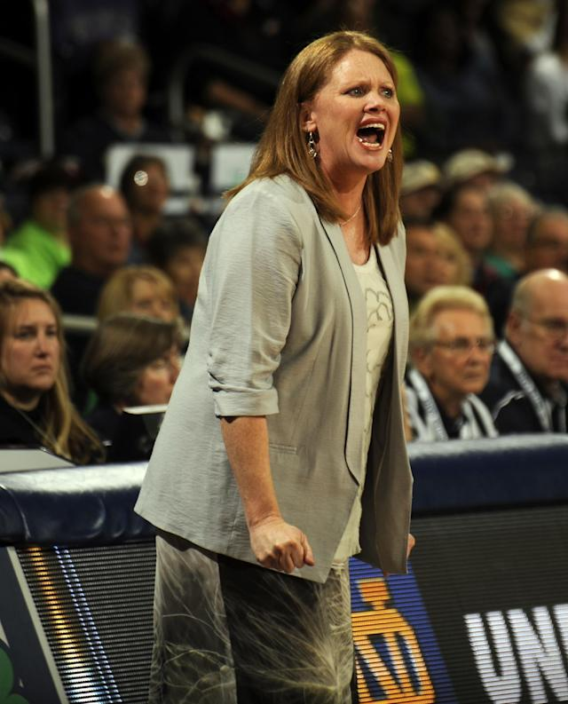 Valparaiso coach Tracey Dorow shouts at her team during the first half of an NCAA college basketball game against Notre Dame, Saturday, Nov. 16, 2013, in South Bend, Ind. (AP Photo/Joe Raymond)