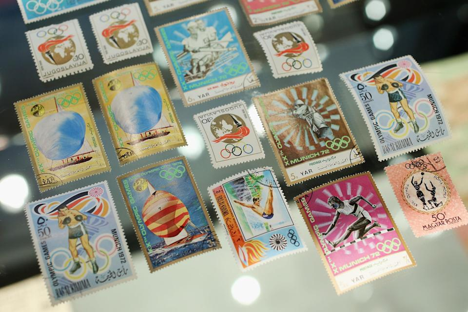 Olympic themed stamps on display in Bonhams auction house on April 5, 2012 in London, England. The item features in Bonhams' forthcoming Summer Sporting Sales and is in a lot expected to fetch 300 GBP when auctioned alongside other sporting memorabilia on May 29, 2012. (Photo by Oli Scarff/Getty Images)