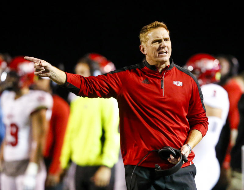 Arkansas State oach Blake Anderson reacts to a call during the second half of the team's NCAA college football game against Troy, Thursday, Nov. 17, 2016, in Troy, Ala. Arkansas State won 35-3. (AP Photo/Butch Dill)
