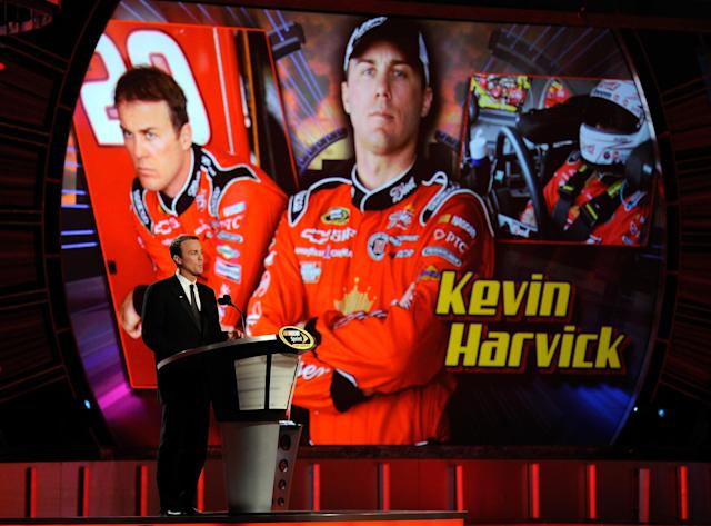 LAS VEGAS, NV - DECEMBER 02: Driver Kevin Harvick speaks during the NASCAR Sprint Cup Series Champion's Week Awards Ceremony at Wynn Las Vegas on December 2, 2011 in Las Vegas, Nevada. (Photo by Ethan Miller/Getty Images)
