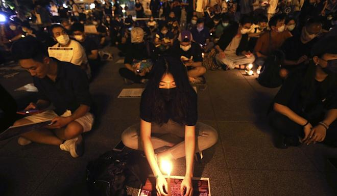 Hong Kong and Taiwanese supporters protest in Taipei in May against Beijing's national security legislation for the former British colony. Photo: AP