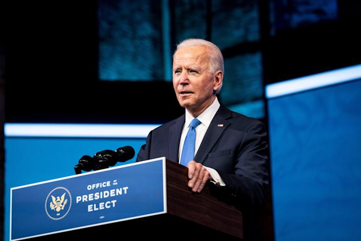 President-elect Joe Biden speaks after the Electoral College vote officially affirmed his victory, at The Queen theater in Wilmington, Del., on Monday, Dec. 14, 2020. (Erin Schaff/The New York Times)