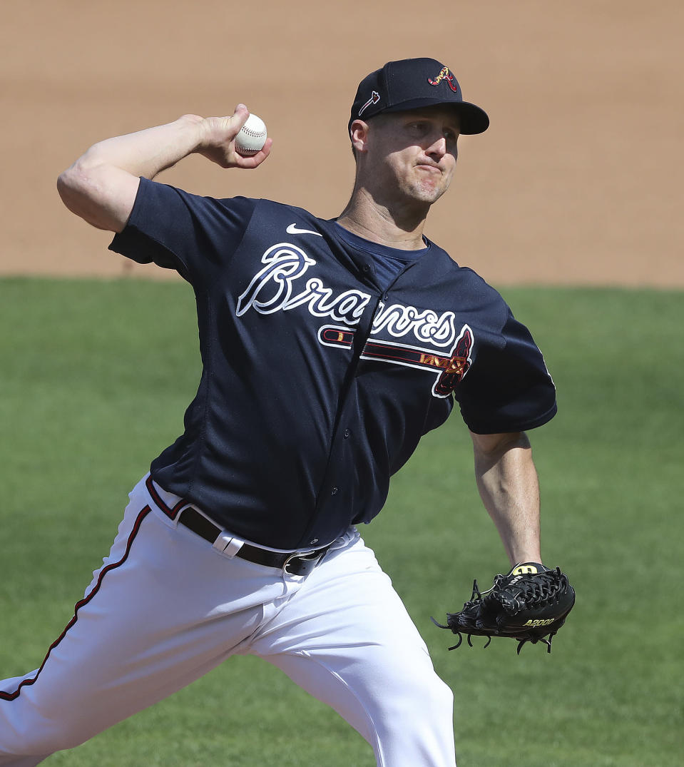 Atlanta Braves pitcher Nate Jones delivers against the Minnesota Twins during the fourth inning of a MLB spring training baseball game at CoolToday Park on Tuesday, March 2, 2021, in North Port, Fla. (Curtis Compton/Atlanta Journal-Constitution via AP)