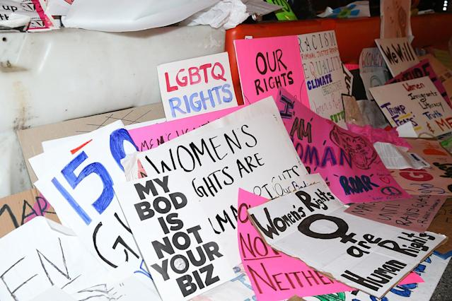 <p>Discarded signs from Women's March lie on streets around the corner from Trump Tower in New York City on Jan. 21, 2017. (Photo: Gordon Donovan/Yahoo News) </p>
