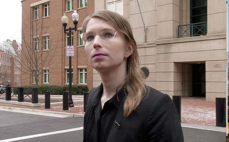 FILE PHOTO: Chelsea Manning speaks to reporters outside the U.S. federal courthouse shortly before appearing before a federal judge and being taken into custody for contempt of court in Alexandria, Virginia