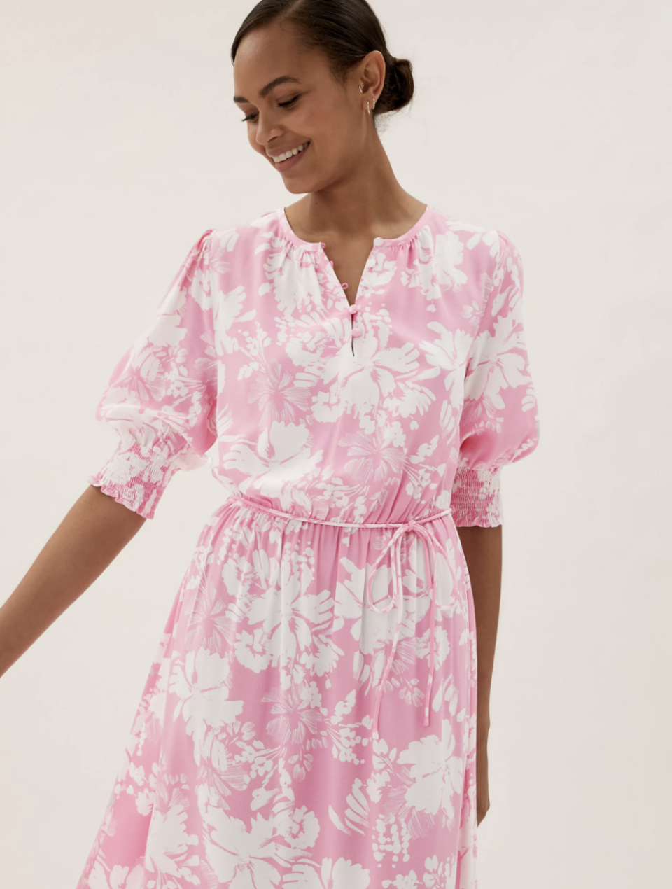 M&S' new floral midaxi dress comes in regular and long lengths to suit all shoppers' needs.  (Marks and Spencer)