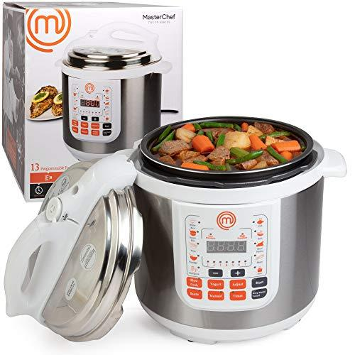 """<p><strong>MasterChef</strong></p><p>amazon.com</p><p><strong>$59.95</strong></p><p><a href=""""http://www.amazon.com/dp/B079LY61FP/?tag=syn-yahoo-20&ascsubtag=%5Bartid%7C1782.g.2500%5Bsrc%7Cyahoo-us"""" target=""""_blank"""">BUY NOW</a></p><p>Did you know the cooking show you know and love had its own branded pressure cooker?! Use it to cook dinner quickly or slowly, sauté, and make rice or yogurt.</p>"""