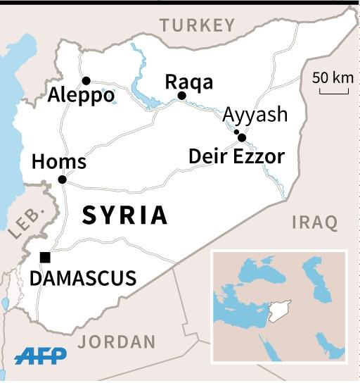Map of Syria locating Deir Ezzor and nearby Ayyash. 45 x 47 mm Syria conflict US bombing coalition (AFP Photo/)