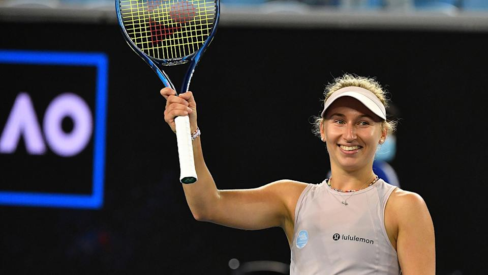 Daria Gavrilova set up a second round clash with fellow Aussie Ash Barty thanks to her first round Australian Open win. (Photo by PAUL CROCK/AFP via Getty Images)