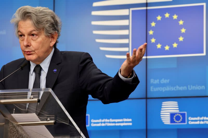 FILE PHOTO: European Commissioner for Internal Market and Services Thierry Breton talks during a news conference at the European Council headquarters in Brussels